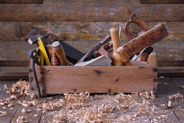 woodworking tools and toolbox